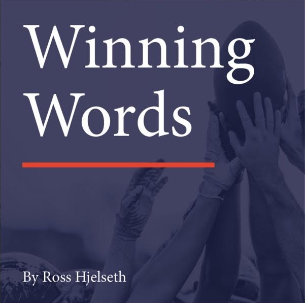 Winning Words logo features a team of hands holding together onto a raised football.